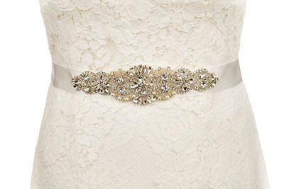 White Bride Sash Bridal Wedding Dress Belt Pearl And Crystal Sparkle