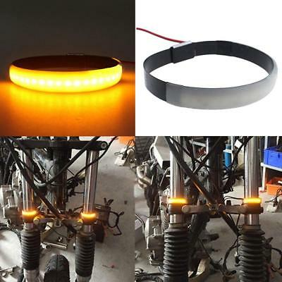 2 Pcs Motorcycle Fork Turn Signals Light Amber LED Strips For Clean Custom Amber
