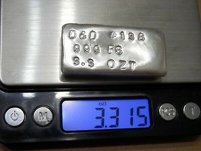 3.3 Troy Ounce Hand Poured .999 Fine Silver Bar