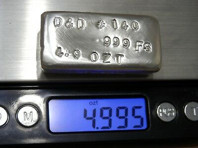 4.9 Troy Ounce Hand Poured .999 Fine Silver Bar