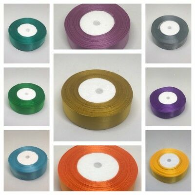 25 Metres Satin Ribbon 25mm 15mm 10mm 38mm 6mm Double Sided