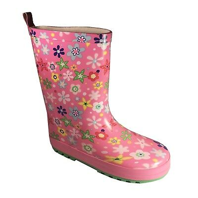 Girls Floral Pink Wellington Boots Slip on Fun Multi Coloured Wellies Size 13
