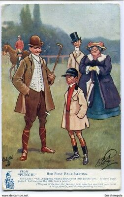 """CPA-Carte postale -Royaume-Uni -From """"Punch"""" -Her First Race Meeting - 1907"""