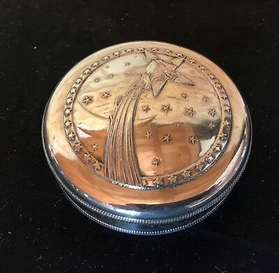 French Art Nouveau Antique Snuff Box Or Powder Box Silver Plated
