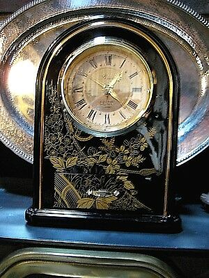 """Vintage Japanese Gold and Black """"Grace"""" Mantel Clock with pull out drawer"""