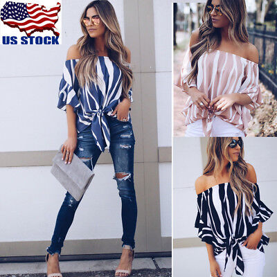 Sexy Women Off Shoulder Stripe Tops Summer Beach Casual Loose Bowknot T Shirt US