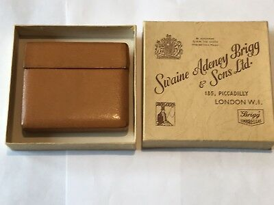 1930's Boxed Swaine & Adeney Tan Leather Card Cigarette Case Vintage
