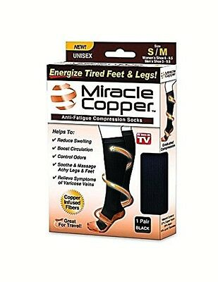 Miracle Copper Anti-Fatigue Black Unisex Compression Socks S/M New 2.99 Shipping