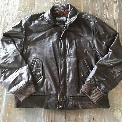 8d373c1ab VINTAGE MENS MEMBERS Only Dark Brown Leather Bomber Jacket Size 42