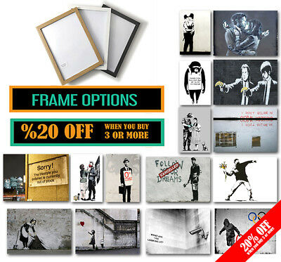BEST OF BANKSY POSTER A4 A3 SIZE FRAMES Wall Decor Graffiti Print Valentines Day