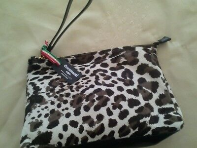 CAVALCANTI ITALY BLACK Leather Animal print Calf Hair Clutch Bag NEW ... 974dab0bda410
