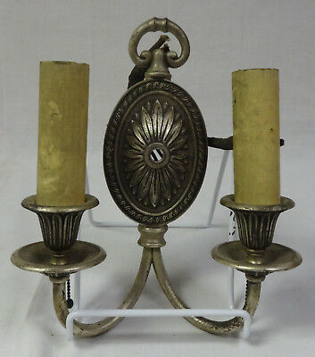 Antique Pair of Victorian 2 Light Wall Sconces Silver Plated Bronze? Beautiful!