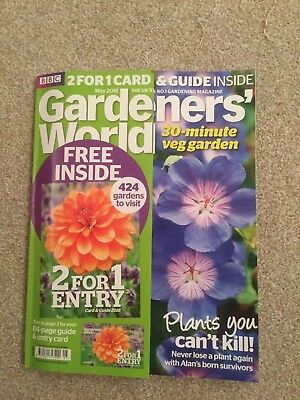 Bbc Gardeners' World Issue May 2018 + Gardens 2 For 1* Entry Card & Guide 2018