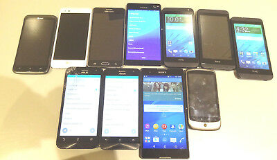 Lot of 11 Smartphones Mixed Brands Most GSM 6 AT&T & 1 Claro AS-IS Parts
