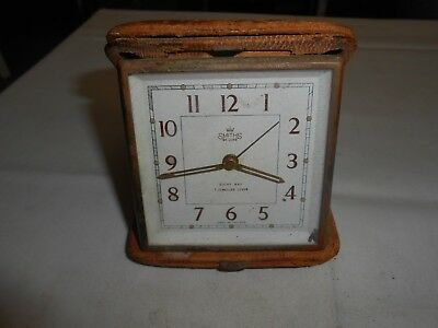 Smiths De Luxe 8 Day 7 Jewels Lever Travel Alarm Clock For Spares Or Repair