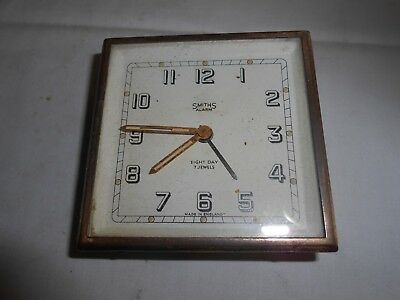 Vintage Smiths Alarm 8 Day 7 Jewels Travel Alarm Clock For Spares/repair