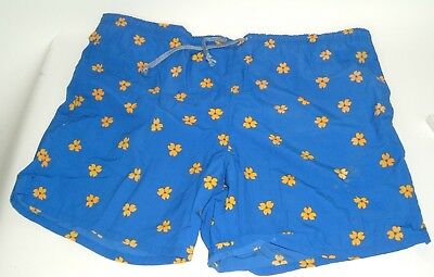 Mens Vintage Swim Trunks Short Shorts by Winners XL Lined Blue floral drawstring