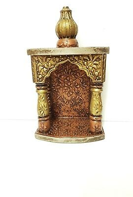 "Small Wooden Embossed Mandir/ Pooja Mandir/ Temple/ Shrine (6"" w x 4"" D x 11""H )"