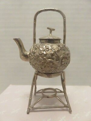 "Miniatures dollhouse Sterling Silver Teapot Stand Emboss Flowers Asian 2-7/8""T"