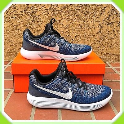 c89e8cfc94ed NIKE Mens LUNAREPIC Low Flyknit 2 Black Blue Running Shoes Sz 9.5 863779-007