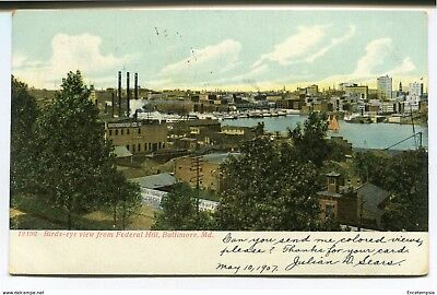 CPA-Carte postale -Etats-Unis -Baltimore Birds eye view from Federal Hill-1907