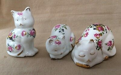 3 Vintage Pretty Floral Porcelain CATS: 1 Sleeping Fenton China 2 Others