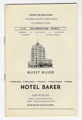 OLD OREGON TRAIL Advertising Booklet BAKER Guest Guide c 1940 Local Businesses