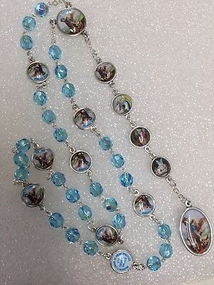 """ANGEL MICHAEL CHAPLET rosary blue crystals made in Poland Italian parts 16"""""""