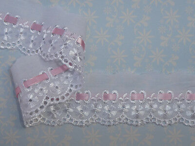 2 Metres x Cotton Broderie Anglaise Gathered Lace Choose Width *FREE 1ST CLASS*