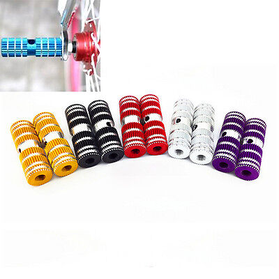"2pcs Cycling BMX Bike Bicycle Cylinder Aluminum Alloy 3/8"" Axle Foot Pegs HT"