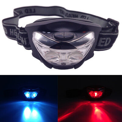 3 LED Outdoor Camping Biking Hunting Head Light White Red Lighting Headlamp