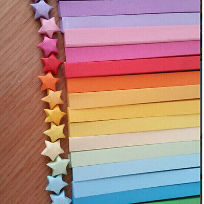 80X  Origami Lucky Star Paper Strips  Folding Paper Ribbons Colors Gift