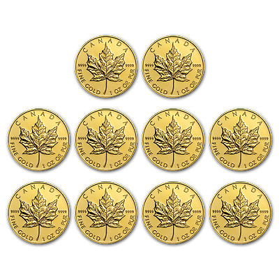 SPECIAL PRICE! BANK WIRE! Canada 1 oz Gold Maple Leaf .9999 Random Yr Lot of 10