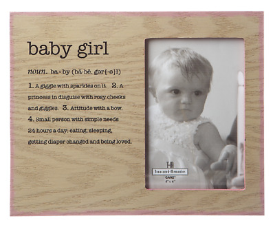 Ganz E8 Baby Girl Blue 4x6in Picture Frame 9.5x8in W/ Sentiments ER43501