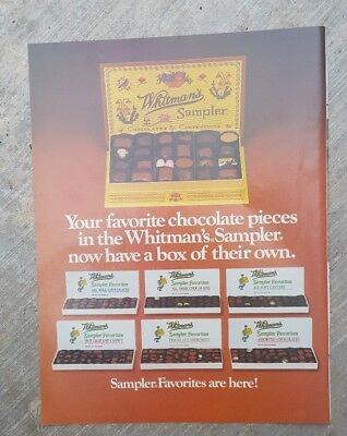 1983 print ad for Whitman's Sampler-Sampler Favorites are here! Chocolates