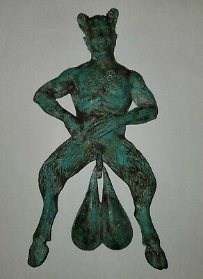 Bronze Door Knocker Figure Doorbell Bells Satyr Pan Roman Victorian Sculpture