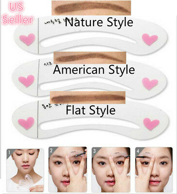 3 Style Eyebrow Grooming Stencil Kit Template Guide Makeup Shaping