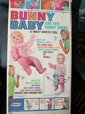 New Rare Unopened Vintage Remco Bunny Baby Doll W/ Rabbit Whistle & Swing 1960s