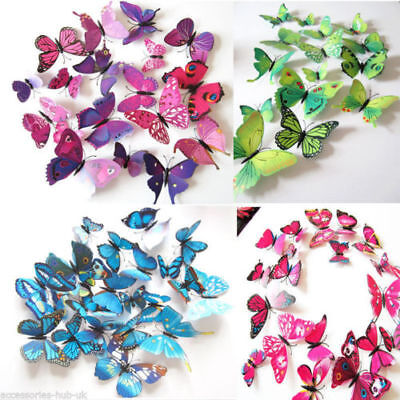 12 pcs 3D Butterfly Wall Stickers Colorful Art Decal Room Decorations Decor DIY