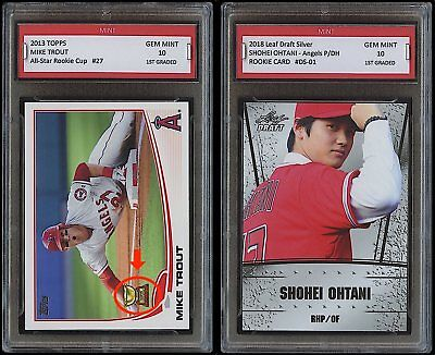 SHOHEI OHTANI & MIKE TROUT TOPPS 1ST GRADED 10 ROOKIE CARD RC LOT ANGELS Otani