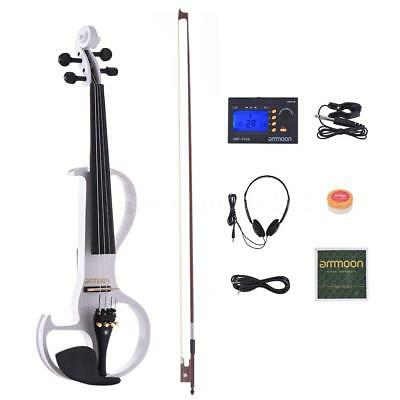 ammoon VE-207 Full Size 4/4 Solid Wood Silent Electric Violin Fiddle Maple G6E0