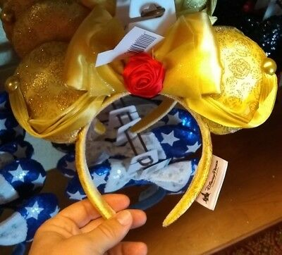 Disney Parks Beauty and the Beast Belle Minnie Mickey Mouse Ears Headband NEW