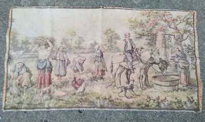 """Antique Tapestry Rug Wall Hanging People Farm Scene Man On Horse 35"""" x 19"""""""