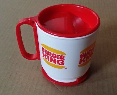 Vintage BURGER KING Coffee Cup Collectible Plastic Travel Mug with Lid