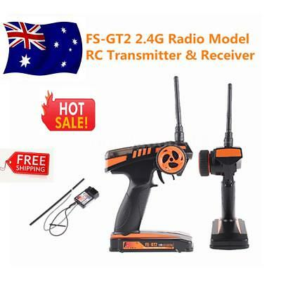 Fs-Gt2 2Ch 2.4Ghz Radio Remote Control Transmitter Receiver For Rc Au T7P2