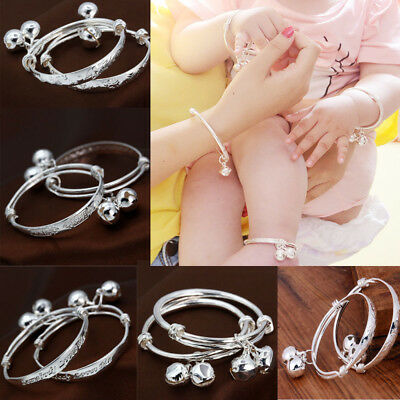 Baby Newborn 925 Silver Filled Bangle Wistbands Kids Adjustable Bells Bracelets