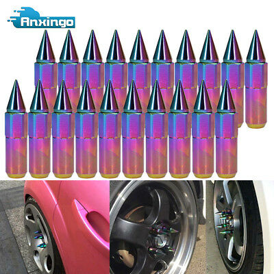 20-Pack Neo Chrome M12X1.25MM Spiked Aluminum Wheel/Rim Lug Nuts Extended Tuner
