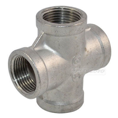 "1/2"" 4 Way Threaded Female Cross Coupling Connector SS 304 Pipe Fitting NPT"
