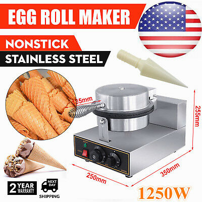 Commercial Electric Nonstick Ice Cream Waffle Cone Machine Egg Roll Maker 110V