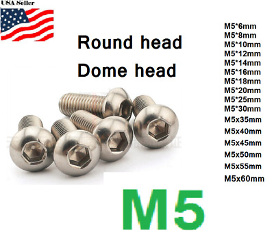 M5x0.8 5mm metric 6-80mm Stainless Steel Button head Hex bolt Dome  Allen Screw